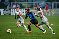 Kansas City, MO - Thursday August 10, 2017: Desiree Scott, Mccall Zerboni during a regular season National Women's Soccer League (NWSL) match between FC Kansas City and the North Carolina Courage at Children's Mercy Victory Field.