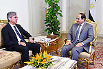 Egyptian President Abdel Fattah el-sisi meets with Siemens AG Chief Executive Joe Kaeser, in Cairo on October 25, 20215. Photo by Egyptian President Office