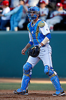 Shane Zeile #14 of the UCLA Bruins during a baseball game against the Oklahoma Sooners at Jackie Robinson Stadium on March 9, 2013 in Los Angeles, California. (Larry Goren/Four Seam Images)