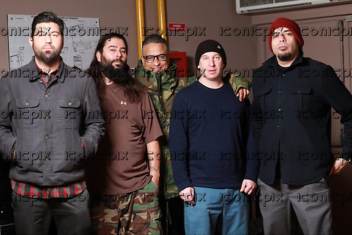 DEFTONES - L-R: Chino Moreno, Stephen Carter, Sergio Vega, Abe Cunningham, Frankie Delgado - photosession in Paris France - 22 Feb 2013.  Photo credit: Manon Violence/Dalle/IconicPix