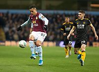 30th October 2019; Villa Park, Birmingham, Midlands, England; English Football League Cup, Carabao Cup, Aston Villa versus Wolverhampton Wanderers; Keinan Davis of Aston Villa controls the ball at his feet as Maximilian Kilman of Wolverhampton Wanderers comes in to tackle - Strictly Editorial Use Only. No use with unauthorized audio, video, data, fixture lists, club/league logos or 'live' services. Online in-match use limited to 120 images, no video emulation. No use in betting, games or single club/league/player publications