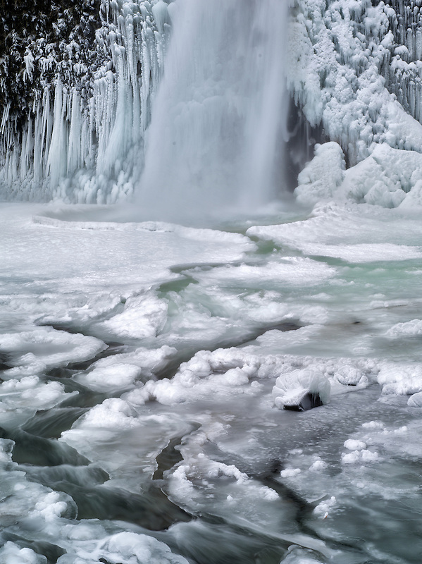 Close up of Horsetail Falls with ice and snow. Columbia River Gorge National Scenic Area, Oregon