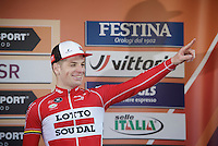 Jurgen Roelandts (BEL/Lotto-Soudal) admitted afterward he thought he had the win in his pocket with 50 meters to go, only to be overtaken by D&eacute;marre &amp; Swift to become 3rd on the very last moment<br /> <br /> 107th Milano-Sanremo 2016