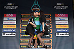 Kazak National Champion Alexey Lutsenko (KAZ) Astana Pro Team wins the mountains Maglia Verde on the podium at the end of Stage 7 of the Race of the Two Seas, the 54th Tirreno-Adriatico 2019, an individual time trial running 10.1km around San Benedetto del Tronto, Italy. 19th March 2019.<br /> Picture: LaPresse/Gian Mattia D'Alberto | Cyclefile<br /> <br /> <br /> All photos usage must carry mandatory copyright credit (&copy; Cyclefile | LaPresse/Gian Mattia D'Alberto)