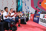 (L-R)  Tsuyoshi Fukui,  Yasuhiro Yamashita (JPN), <br /> AUGUST 24, 2018 - Sport Climbing : <br /> Men's Combined Qualification Bouldering<br /> at Jakabaring Sport Center Sport Climbing <br /> during the 2018 Jakarta Palembang Asian Games <br /> in Palembang, Indonesia. <br /> (Photo by Yohei Osada/AFLO SPORT)
