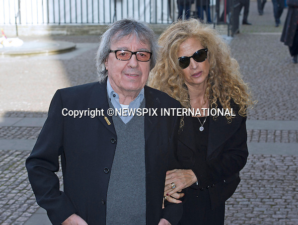 BILL WYMAN AND WIFE SUZANNE ACCOSTA<br /> attend Sir David Frost Memorial, Westminster Abbey, London_13/03/2014<br /> Mandatory Credit Photo: &copy;Dias/NEWSPIX INTERNATIONAL<br /> <br /> **ALL FEES PAYABLE TO: &quot;NEWSPIX INTERNATIONAL&quot;**<br /> <br /> IMMEDIATE CONFIRMATION OF USAGE REQUIRED:<br /> Newspix International, 31 Chinnery Hill, Bishop's Stortford, ENGLAND CM23 3PS<br /> Tel:+441279 324672  ; Fax: +441279656877<br /> Mobile:  07775681153<br /> e-mail: info@newspixinternational.co.uk