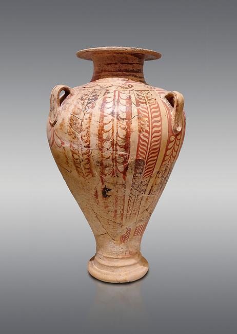 Minoan decorated pithos stirrup jar , Zafer Papoura 1400-1250 BC; Heraklion Archaeological Museum, grey background