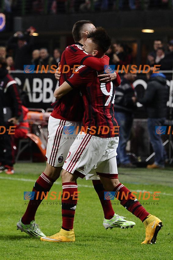 esultanza gol Jeremy Menez Milan. Goal celebration <br /> Milano 23/11/2014 Stadio Giuseppe Meazza Football Calcio Serie A 2014/2015 Milan-Inter foto Daniele Buffa/Image Sport/Insidefoto