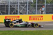 Sahara Force India F1 VJm08 Mercedes powered Formula 1 car at practice run 3 at circuit Gilles-Villeneuve during the 2015 Formula grand Prix of Canada in Montreal.