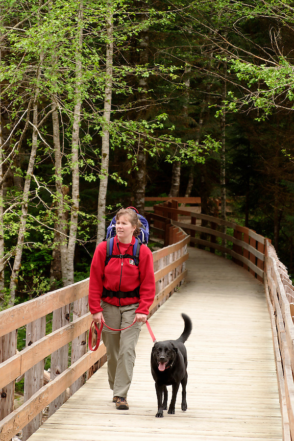 Woman hiking with black dog and with baby in backpack on back, Big Four Ice Caves Trail, Snohomish County, Mount Baker-Snoqualmie National Forest, Cascade Mountains, Washington, USA