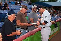 Trenton Thunder designated hitter Tyler Wade (22) signs autographs before a game against the Binghamton Mets on August 8, 2015 at NYSEG Stadium in Binghamton, New York.  Trenton defeated Binghamton 4-2.  (Mike Janes/Four Seam Images)