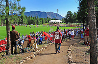 Jul 31, 2009; Flagstaff, AZ, USA; Fans look on as Arizona Cardinals players practice during training camp on the campus of Northern Arizona University. Mandatory Credit: Mark J. Rebilas-
