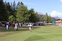 Matthew Fitzpatrick (ENG) plays his 2nd shot on the playoff hole 18 during Sunday's Final Round 4 of the 2018 Omega European Masters, held at the Golf Club Crans-Sur-Sierre, Crans Montana, Switzerland. 9th September 2018.<br /> Picture: Eoin Clarke | Golffile<br /> <br /> <br /> All photos usage must carry mandatory copyright credit (&copy; Golffile | Eoin Clarke)