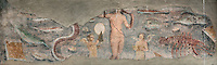 Fresco of Venus Anadyomene (Venus Rising From the Sea), between amorini, fishes, and crustaceans, late 2nd century - early 3rd century, in the frigidarium of the Terme dei Sette Sapienti (Baths of the Seven Sages), Ostia Antica, Italy. Picture by Manuel Cohen