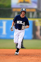 New Orleans Zephyrs shortstop Matt Downs #12 runs the bases after hitting a home run during a game against the Round Rock Express on April 15, 2013 at Zephyr Field in New Orleans, Louisiana.  New Orleans defeated Round Rock 3-2.  (Mike Janes/Four Seam Images)