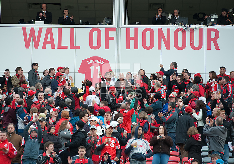 "15 April 2010: Toronto FC's Jim Brennan has his number put on the ""Wall of Honour"" in a game between the Philadelphia Union and Toronto FC at BMO Field in Toronto..Toronto FC won 2-1..Photo by Nick Turchiaro/isiphotos.com."