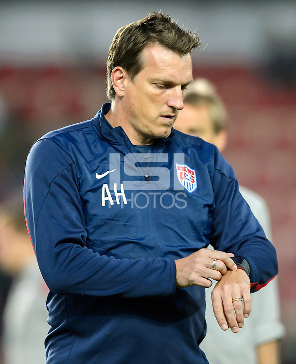 PRAGUE, Czech Republic - September 3, 2014: USA's assistant coach Andreas Herzog during the international friendly match between the Czech Republic and the USA at Generali Arena.