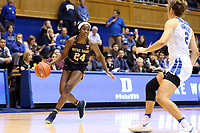 DURHAM, NC - JANUARY 16: Destinee Walker #24 of Notre Dame University dribbles the ball during a game between Notre Dame and Duke at Cameron Indoor Stadium on January 16, 2020 in Durham, North Carolina.