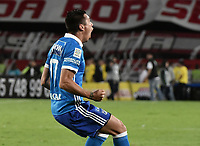 BOGOTÁ - COLOMBIA, 17-12-2017: Henry Rojas jugador del Millonarios celebra después de anotar el segundo gol de su equipo a Santa Fe durante el encuentro entre Independiente Santa Fe y Millonarios por la final vuelta de la Liga Águila II 2017 jugado en el estadio Nemesio Camacho El Campin de la ciudad de Bogotá. / Henry Rojas player of Millonarios celebrates after scoring the second goal of his team to Santa Fe during match between Independiente Santa Fe and Millonarios for the second leg final of the Aguila League II 2017 played at the Nemesio Camacho El Campin Stadium in Bogota city. Photo: VizzorImage/ Gabriel Aponte / Staff