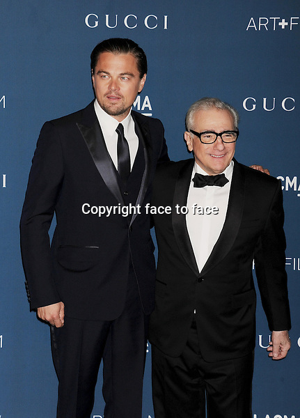 LOS ANGELES, CA- NOVEMBER 02: Actor/Co-Chair Leonardo DiCaprio and Director/Honoree Martin Scorsese arrive at the LACMA 2013 Art + Film Gala at LACMA on November 2, 2013 in Los Angeles, California.<br />