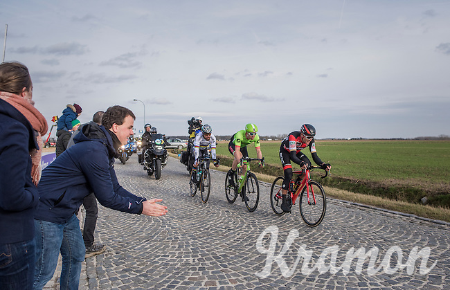 race leaders Greg Van Avermaet (BEL/BMC), Sep Vanmarcke (BEL/Cannondale-Drapac) & Peter Sagan (SVK/Bora-Hansgrohe) racing for the podium over the last cobbles of the day: those of the Lange Munte<br /> <br /> 72nd Omloop Het Nieuwsblad 2017