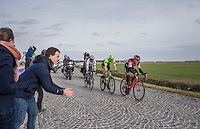 race leaders Greg Van Avermaet (BEL/BMC), Sep Vanmarcke (BEL/Cannondale-Drapac) &amp; Peter Sagan (SVK/Bora-Hansgrohe) racing for the podium over the last cobbles of the day: those of the Lange Munte<br /> <br /> 72nd Omloop Het Nieuwsblad 2017