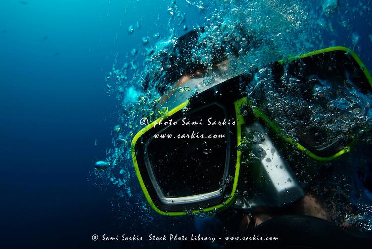One scuba diver underwater, France.