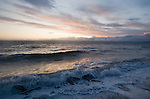 Puget Sound, Seattle, Ballard, shoreline, Golden Gardens Park, wind storm, sunset, view to Olympic Peninsula, Olympic Mountains, winter,.