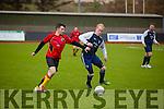Ardfert's Steve Horan and Fianna's Damien Murphy in the Denny Division 1B match Athletico Ardfert  v  Na Fianna Fc  at Mounthawk Park on Sunday
