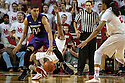 March 1, 2014: Benny Parker (3) of the Nebraska Cornhuskers gets a charging foul on Sanjay Lumpkin (34) of the Northwestern Wildcats during the second half at the Pinnacle Bank Arena, Lincoln, NE. Nebraska 54 Northwestern 47.