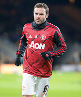 4th January 2020; Molineux Stadium, Wolverhampton, West Midlands, England; English FA Cup Football, Wolverhampton Wanderers versus Manchester United; Juan Mata of Manchester United warming up before the match  - Strictly Editorial Use Only. No use with unauthorized audio, video, data, fixture lists, club/league logos or 'live' services. Online in-match use limited to 120 images, no video emulation. No use in betting, games or single club/league/player publications