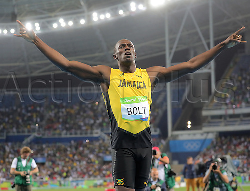 18.08.2016. Rio de Janeiro, Brazil. Usain Bolt of Jamaica celebrates after winning the Men's 200m Final of the Olympic Games 2016 Athletic, Track and Field events at Olympic Stadium during the Rio 2016 Olympic Games in Rio de Janeiro, Brazil, 18 August 2016.