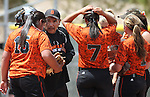Douglas Tigers' Assistant Coach Craig Kizer coaches a game against the Galena Grizzlies in a first round game of the NIAA northern region softball tournament in Reno, Nev., on Thursday, May 15, 2014. <br /> Photo by Cathleen Allison