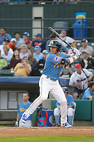 Myrtle Beach Pelicans outfielder Jacob Hannemann (15) during a game against the Winston-Salem Dash at Ticketreturn.com Field at Pelicans Ballpark on April 23, 2015 in Myrtle Beach, South Carolina.  Myrtle Beach defeated Winston-Salem  6-0. (Robert Gurganus/Four Seam Images)