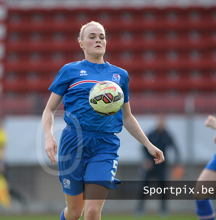 20150406 - MELUN , FRANCE  : Icelandic Heiddis Sigurjonsdottir  pictured during the soccer match between Women Under 19 teams of Iceland and Russia , on the second matchday in group 3 of the UEFA Elite Round Women Under 19 at Stade Municipal , Melun , France . Monday 6th April 2015 . PHOTO DAVID CATRY