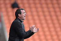 Blackpool manager Gary Bowyer shouts instructions to his team from the dug-out<br /> <br /> Photographer Terry Donnelly/CameraSport<br /> <br /> The EFL Sky Bet League Two - Blackpool v Accrington Stanley - Friday 14th April 2017 - Bloomfield Road - Blackpool<br /> <br /> World Copyright &copy; 2017 CameraSport. All rights reserved. 43 Linden Ave. Countesthorpe. Leicester. England. LE8 5PG - Tel: +44 (0) 116 277 4147 - admin@camerasport.com - www.camerasport.com