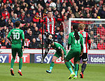 Richard Stearman of Sheffield Utd heads clearduring the championship match at the Bramall Lane Stadium, Sheffield. Picture date 28th April 2018. Picture credit should read: Simon Bellis/Sportimage