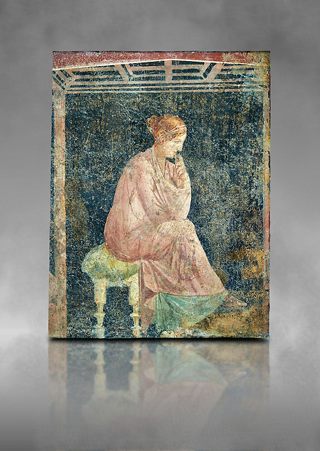 Roman fresco wall painting of a women thinking from the Villa Arianna (Adriana), Stabiae (Stabia) near Pompeii , inv 9097, Naples National Archaeological Museum , grey art background