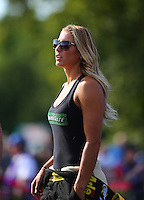 Jun 10, 2016; Englishtown, NJ, USA; NHRA top fuel driver Leah Pritchett during qualifying for the Summernationals at Old Bridge Township Raceway Park. Mandatory Credit: Mark J. Rebilas-USA TODAY Sports