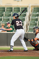 Adam Engel (23) of the Kannapolis Intimidators at bat against the Delmarva Shorebirds at CMC-NorthEast Stadium on July 2, 2014 in Kannapolis, North Carolina.  The Intimidators defeated the Shorebirds 6-4. (Brian Westerholt/Four Seam Images)