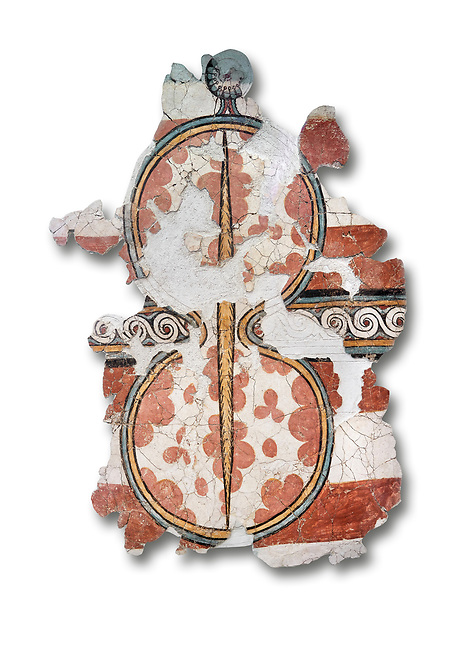 The 'figure of eight shield'  Mycenaean fresco wall painting, Mycenae, Greece Cat No 11672. National Archaeological Museum, Athens.  White Background.<br /> <br /> The Mycenaean 'figure of eight shield' were originaly made of cows hide and was the symbol of a goddess of war.