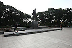 Skateboarders use a monument to Soviet leader Vladimir I.  Lenin as a place to hone their skills in Hanoi, Vietnam. Oct. 24, 2012.