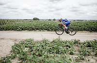 Fernando Gaviria (COL/Quick Step Floors) riding the Gravel Plugstreets, <br /> <br /> 1st Great War Remembrance Race 2018 (UCI Europe Tour Cat. 1.1) <br /> Nieuwpoort &gt; Ieper (BE) 192.7 km