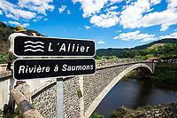 Picture by Alex Whitehead/SWpix.com - 16/07/2017 - Cycling - Le Tour de France - Stage 15, Laissac-Severac L'Eglise to Le Puy-En-Velay - The break in action over Allier Bridge near Prades.