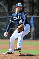 Derek Bushey #19 of East Tennessee State University delivers a pitch at Greenwood Field against the the University of North Carolina Asheville on March 2, 2011 in Asheville, North Carolina.  East Tennessee State University won 13-5.  Photo by Tony Farlow / Four Seam Images..