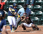 Michigan Wolverines Softball catcher Caitlin Blanchard (44) hits a three run home run in front of umpire Rick Tumblestone and catcher Melissa Berouty during a game against the Bethune-Cookman on February 9, 2014 at the USF Softball Stadium in Tampa, Florida.  Michigan defeated Bethune-Cookman 12-1.  (Copyright Mike Janes Photography)