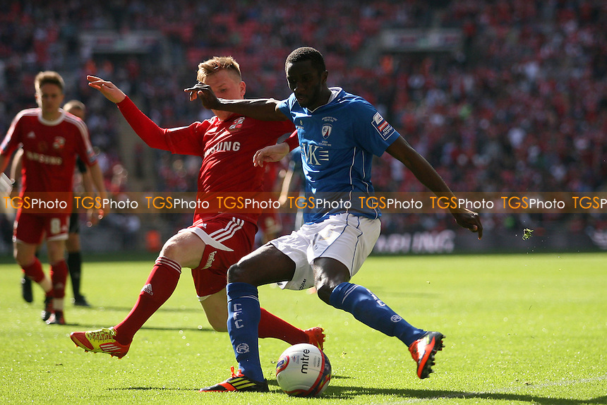 Alex Mendy of Chesterfield gets a cross in ahead of Matt Ritchie of Swindon Town -  Chesterfield vs Swindon Town - at the Wembley National Stadium - 25/03/12 - MANDATORY CREDIT: Dave Simpson/TGSPHOTO - Self billing applies where appropriate - 0845 094 6026 - contact@tgsphoto.co.uk - NO UNPAID USE.