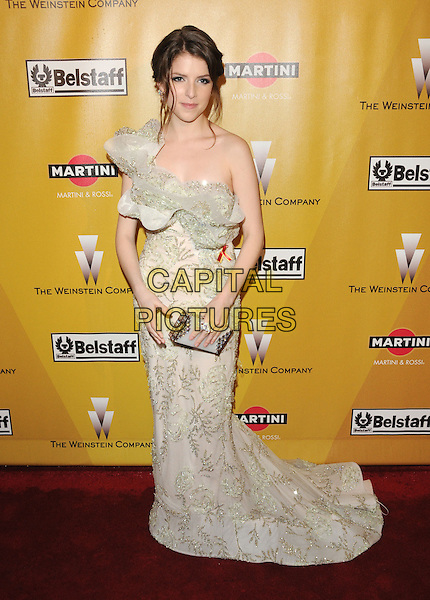 ANNA KENDRICK.At Weinstein Company Post Golden Globe Party held at Bar210 & Plush Ultra Lounge in Beverly Hills, California, USA. January 17th, 2010                                                                   globes full length white beige cream gold ruffle one shoulder off the dress silver pattern clutch bag green beads beaded .CAP/DVS.©Debbie VanStory/Capital Pictures