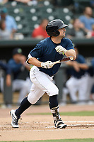 Center fielder Quinn Brodey (2) of the Columbia Fireflies bats in a game against the Greenville Drive on Sunday, May 27, 2018, at Spirit Communications Park in Columbia, South Carolina. Greenville won, 3-0. (Tom Priddy/Four Seam Images)