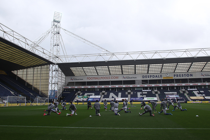Cardiff City's players warm up in front of empty stands<br /> <br /> Photographer Mick Walker/CameraSport<br /> <br /> The EFL Sky Bet Championship - Preston North End v Cardiff  City - Saturday 27th June 2020 - Deepdale Stadium - Preston<br /> <br /> World Copyright © 2020 CameraSport. All rights reserved. 43 Linden Ave. Countesthorpe. Leicester. England. LE8 5PG - Tel: +44 (0) 116 277 4147 - admin@camerasport.com - www.camerasport.com